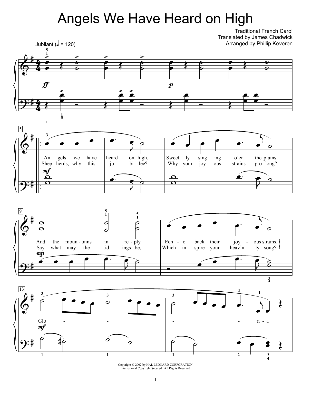Traditional French Carol Angels We Have Heard On High Sheet Music