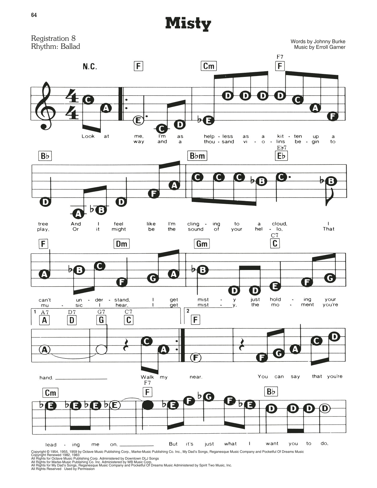 Erroll Garner Misty Sheet Music Notes Chords Printable Jazz
