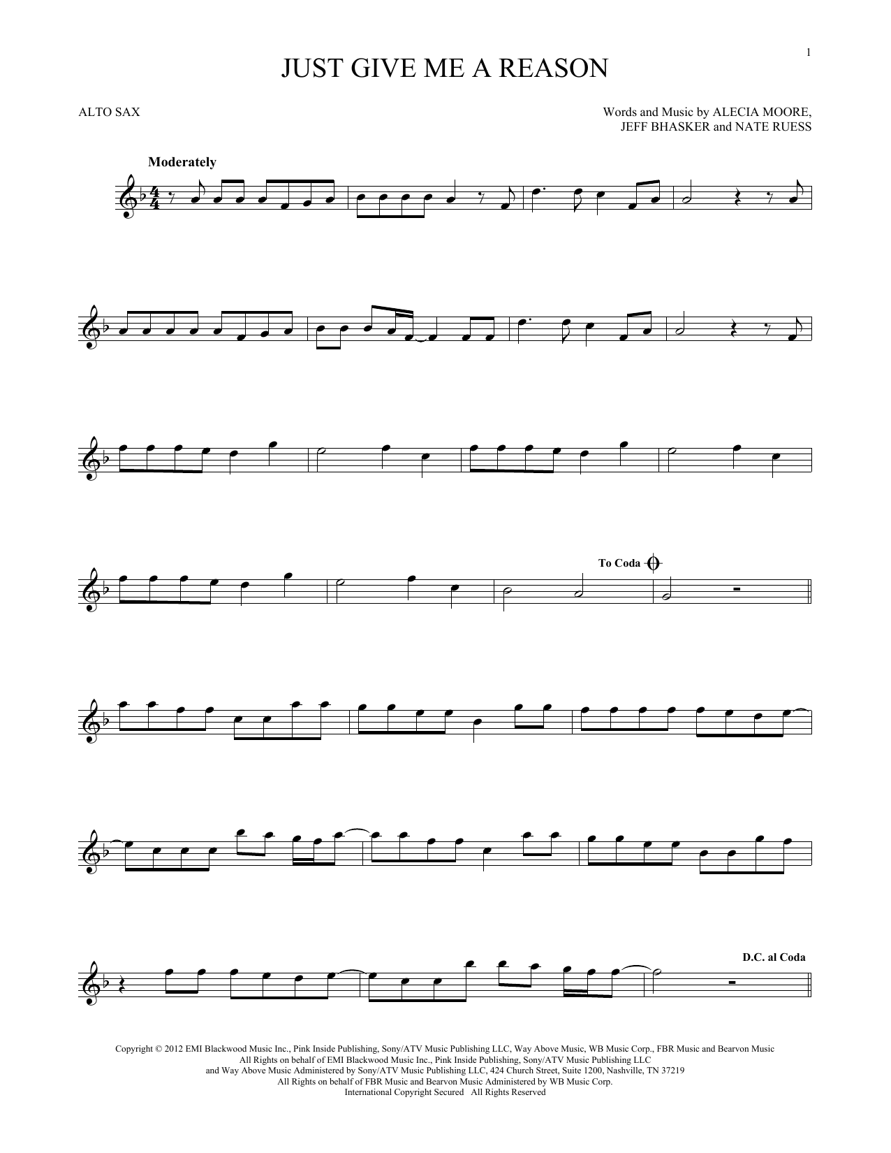 Pink Just Give Me A Reason Feat Nate Ruess Sheet Music Notes