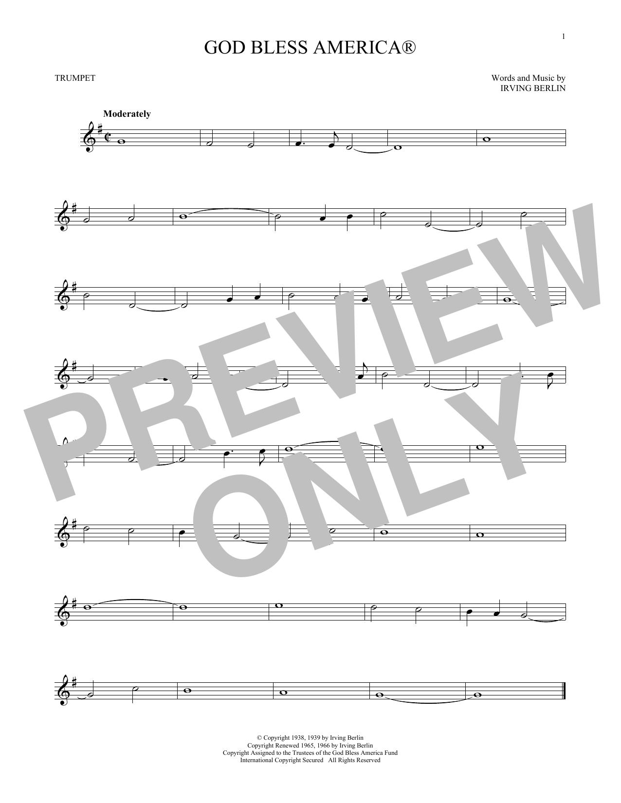 Irving Berlin God Bless America Sheet Music Notes Chords
