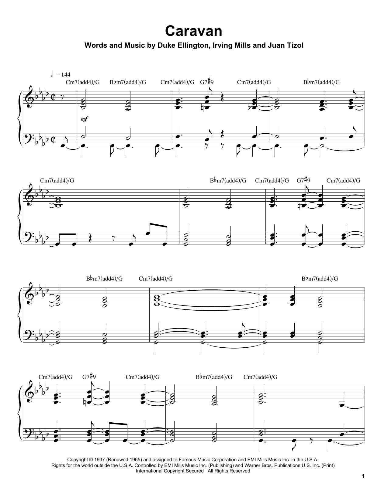 Tommy Flanagan Caravan Sheet Music Notes Chords Printable Jazz