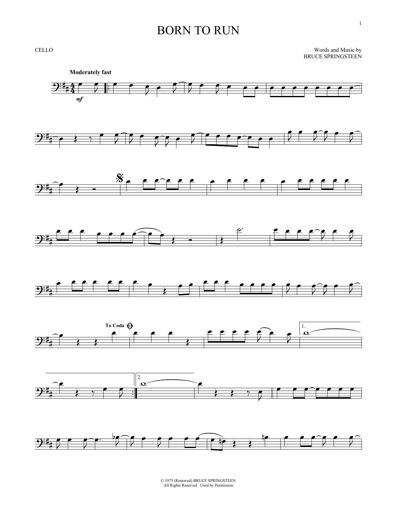 Bruce Springsteen Born To Run Sheet Music Notes Chords