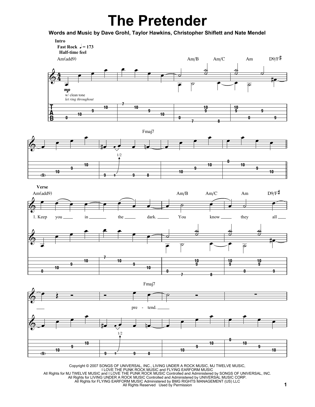 Foo Fighters The Pretender Sheet Music Notes Chords Printable