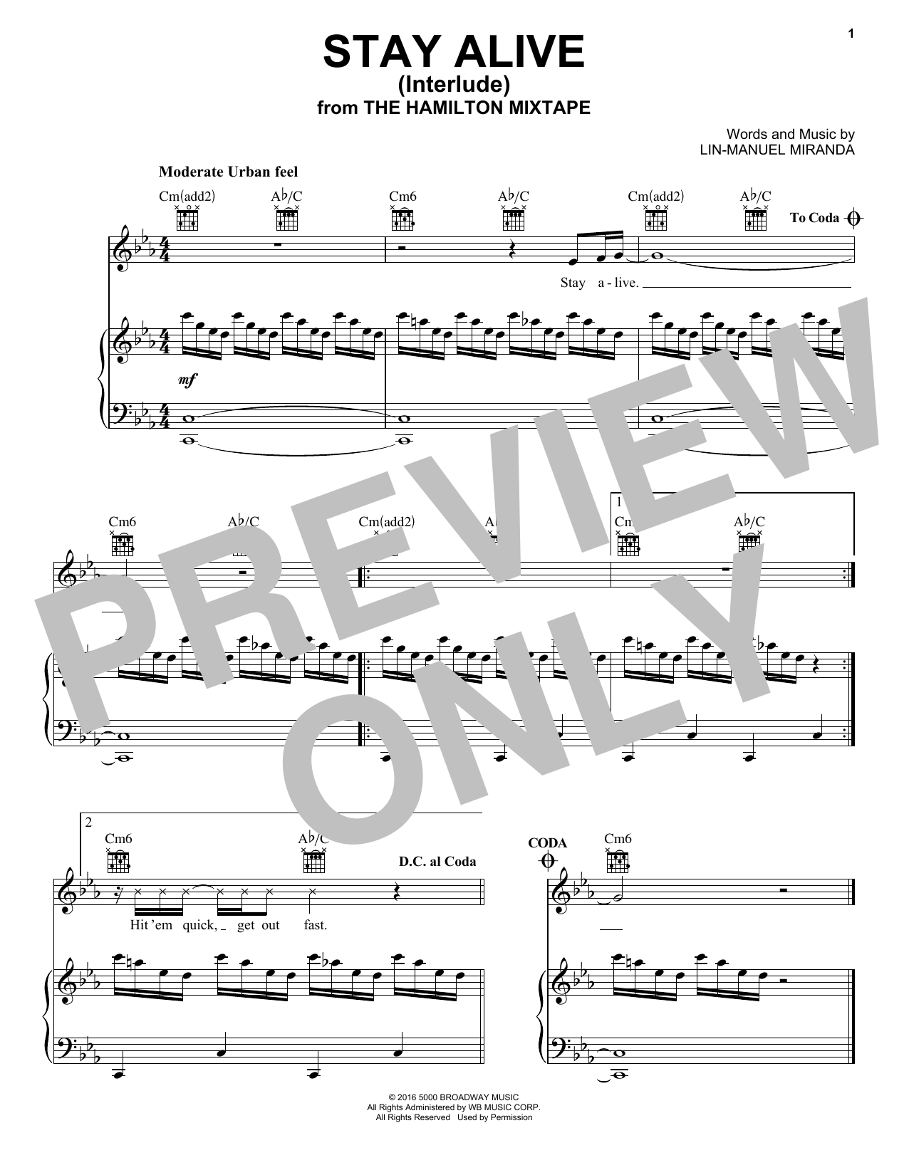 J Period Stro Elliot Stay Alive Interlude Sheet Music Notes