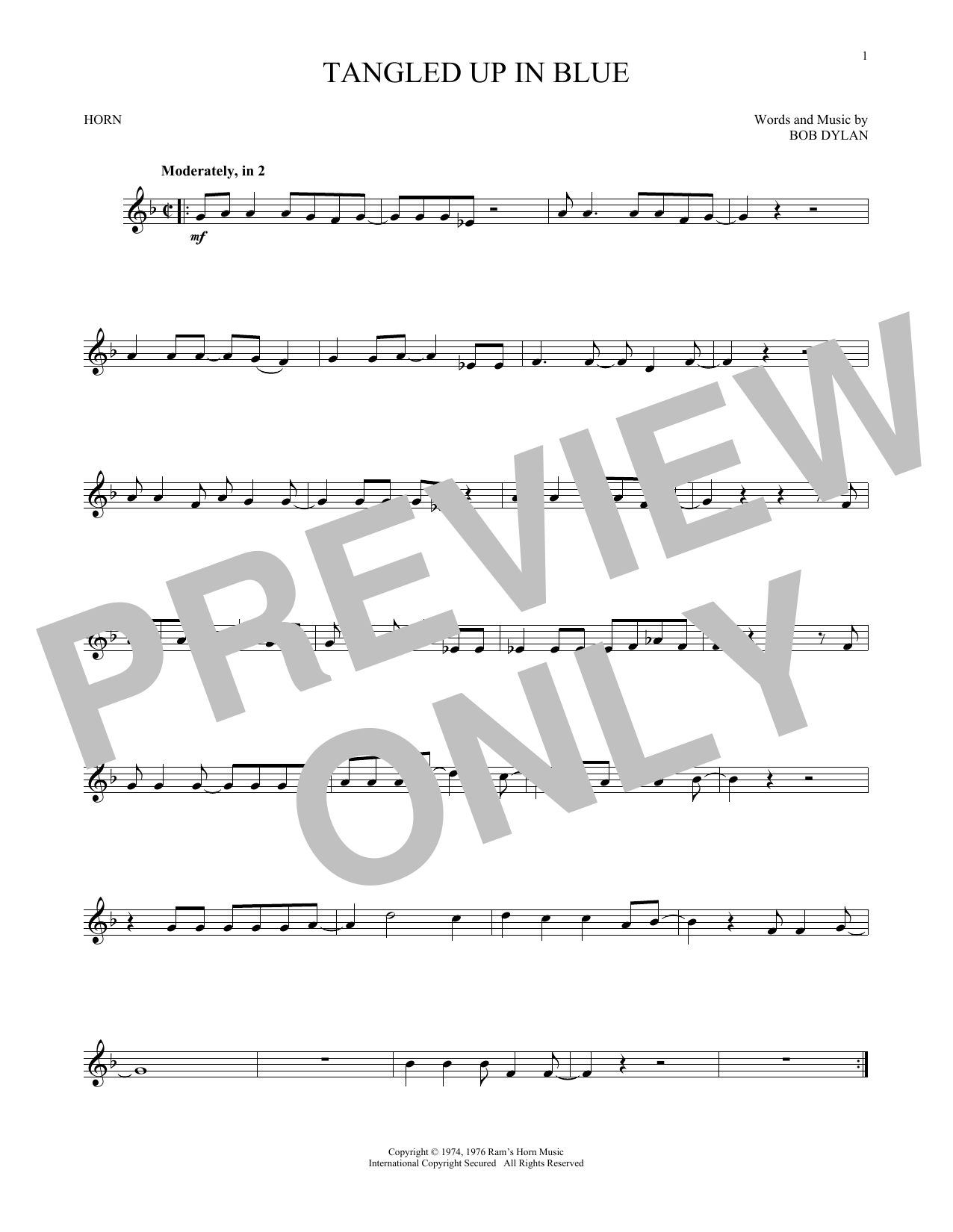 Bob Dylan Tangled Up In Blue Sheet Music Notes Chords Printable