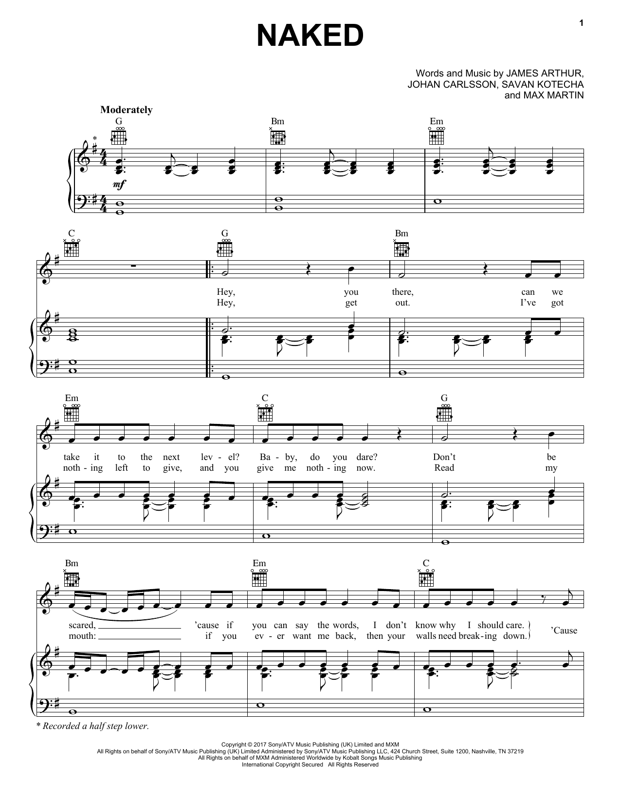 James Arthur Naked Sheet Music Notes Chords Printable Pop Piano