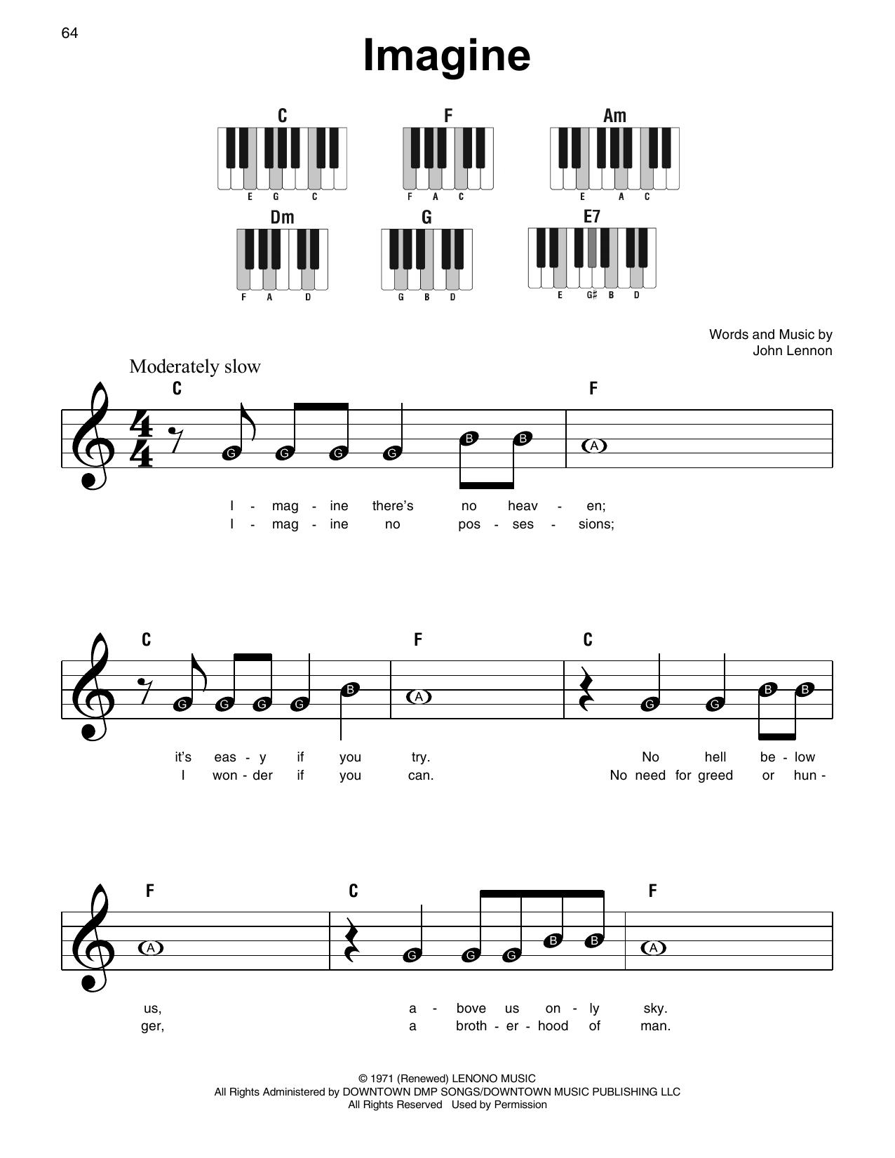 John Lennon Imagine Sheet Music Notes Chords Printable Pop