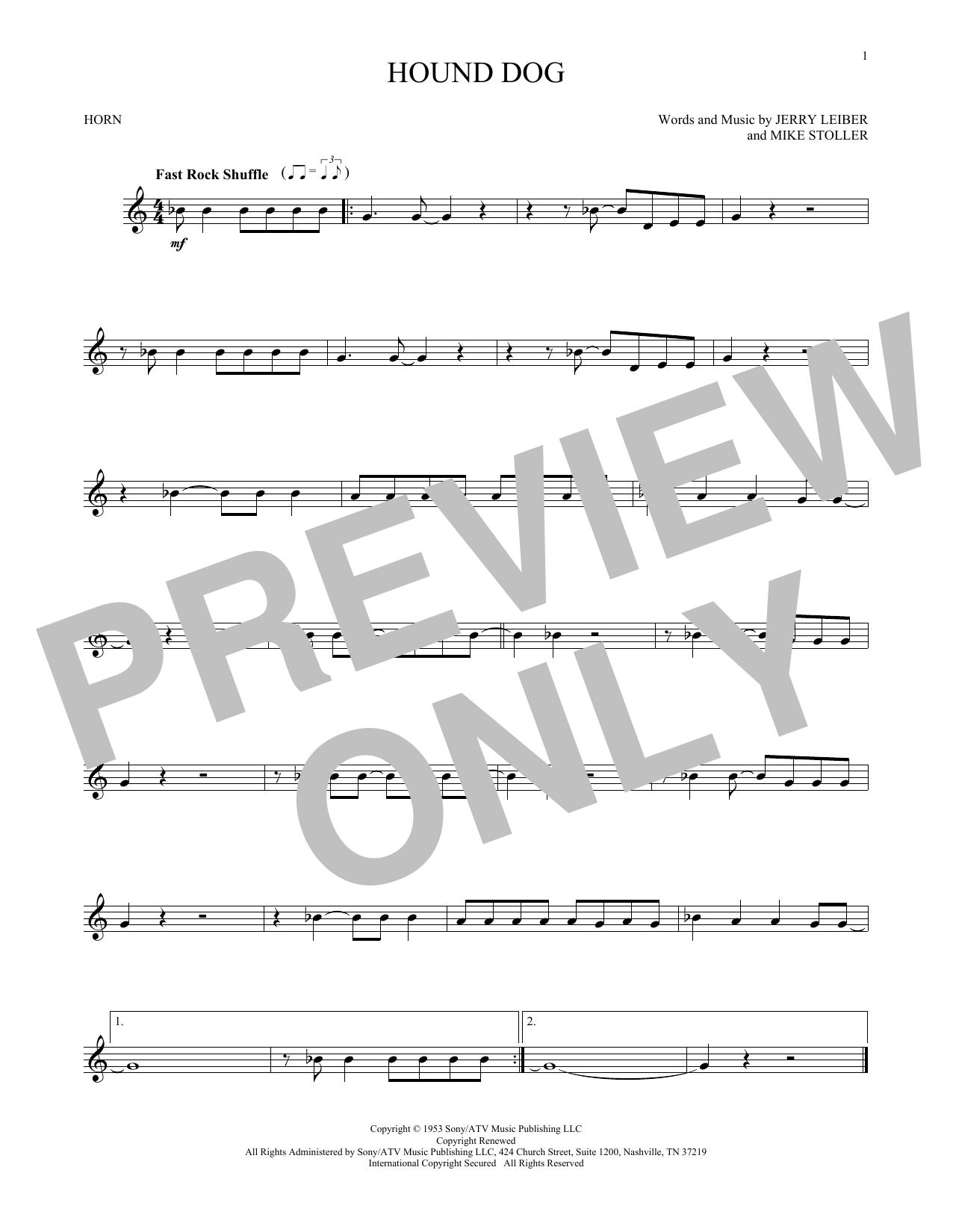 Elvis Presley Hound Dog Sheet Music Notes Chords Printable Pop