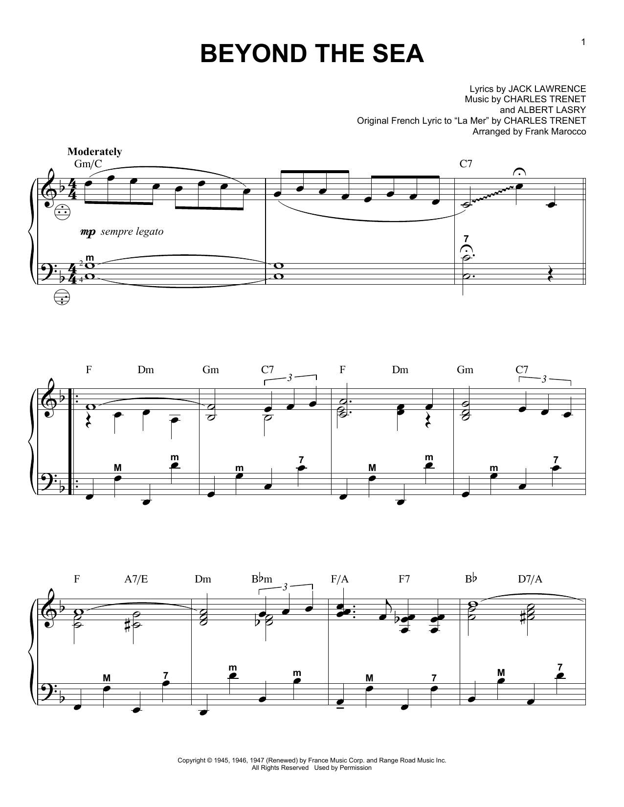 Frank Marocco Beyond The Sea Sheet Music Notes Chords Printable
