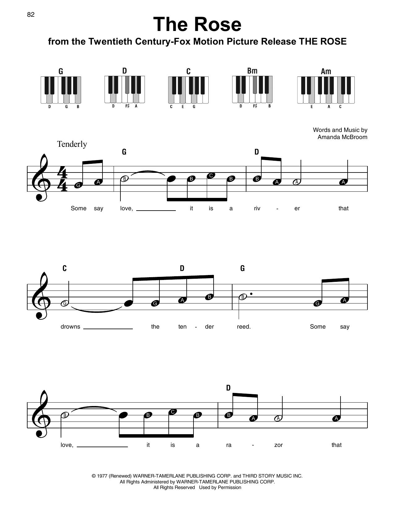 Bette Midler The Rose Sheet Music Notes Chords Printable Film