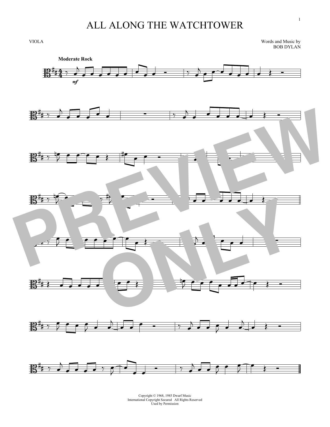 Bob Dylan All Along The Watchtower Sheet Music Notes Chords