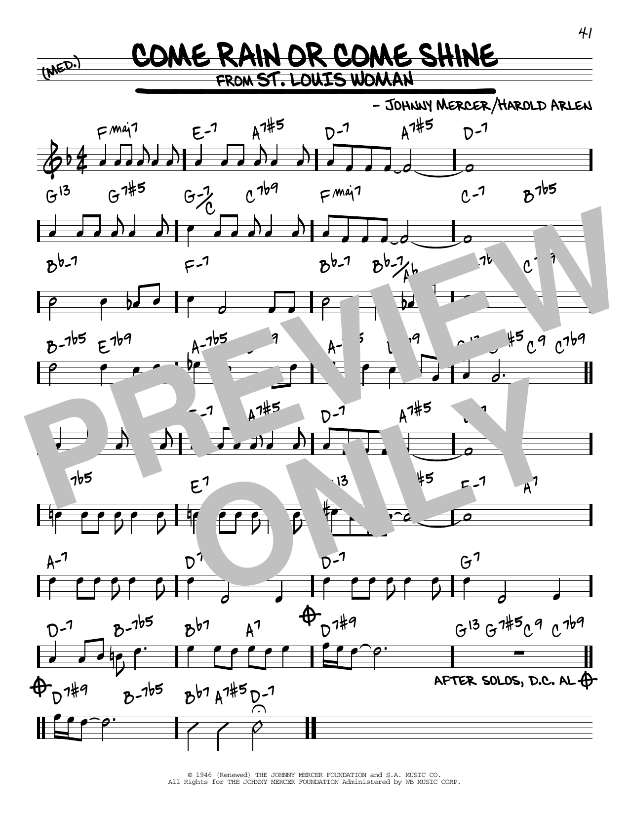 Johnny Mercer Come Rain Or Come Shine Sheet Music Notes Chords