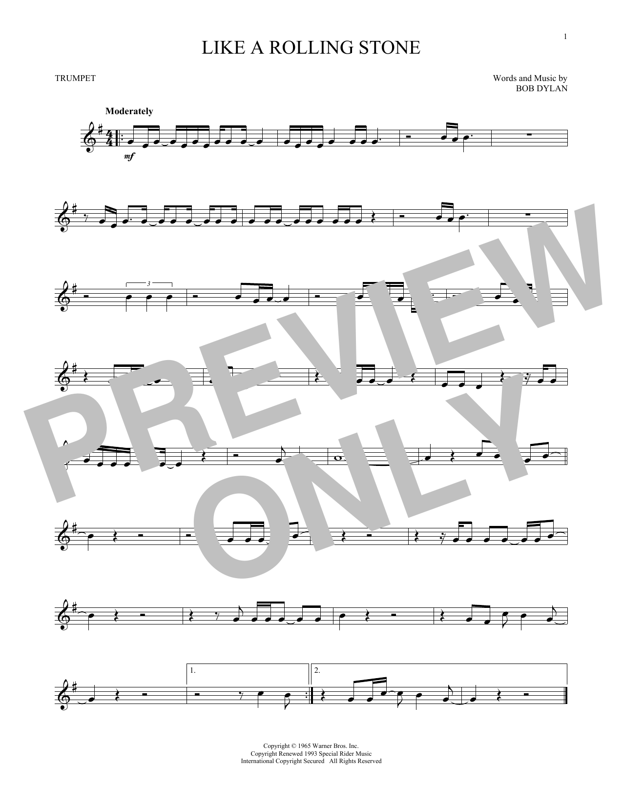 Bob Dylan Like A Rolling Stone Sheet Music Notes Chords