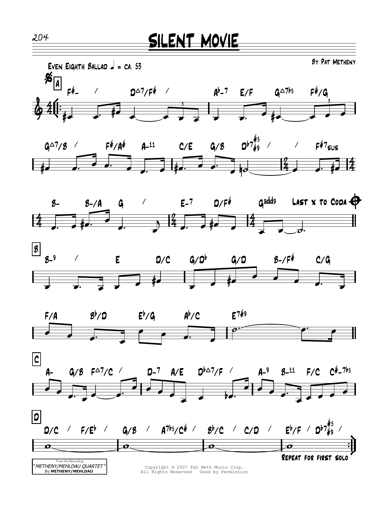 Pat Metheny Silent Movie Sheet Music Notes Chords Printable Pop