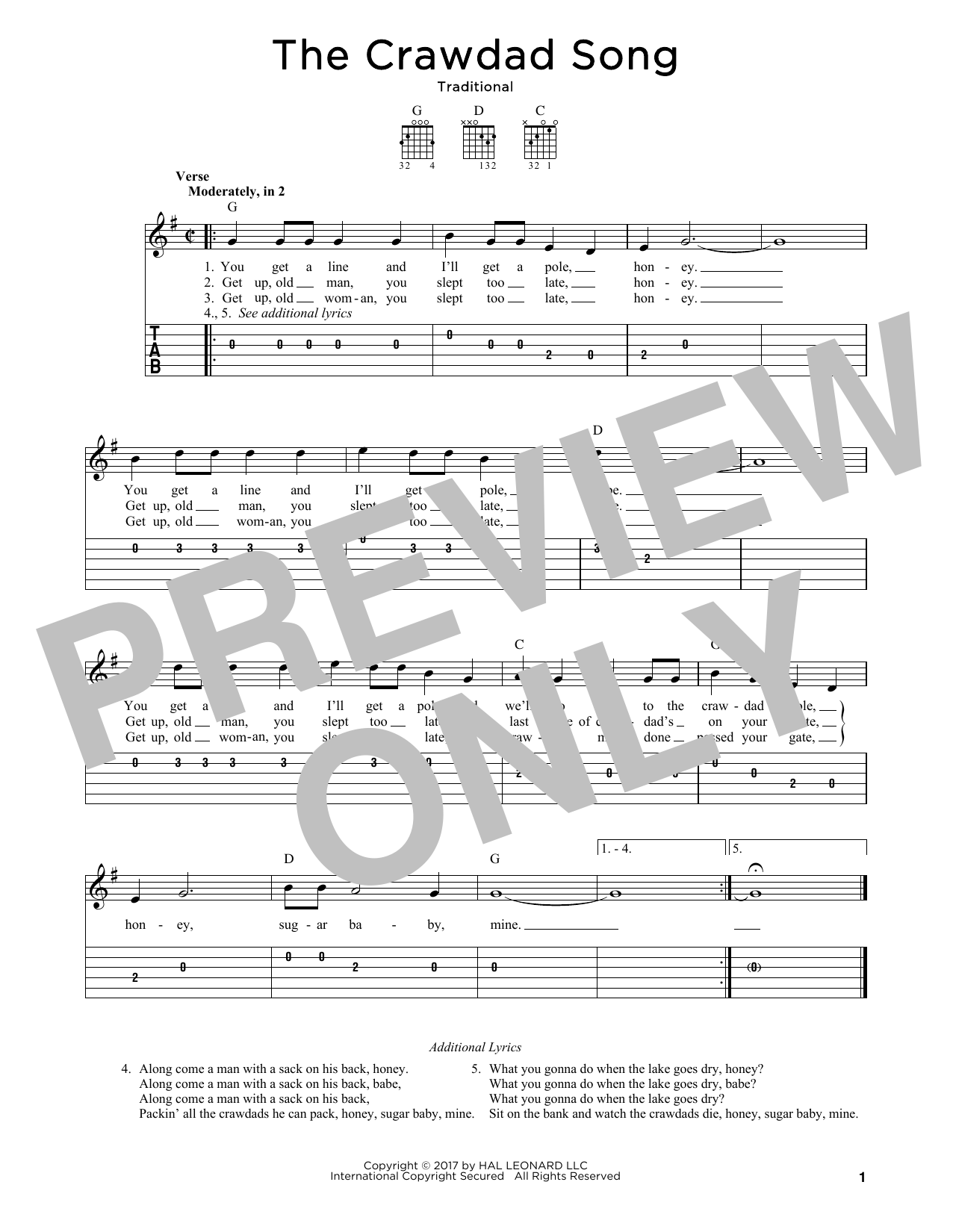 Traditional The Crawdad Song Sheet Music Notes Chords Printable