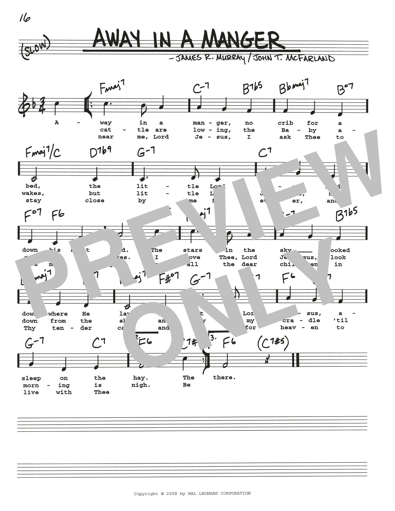 James R Murray Away In A Manger Sheet Music Notes Chords