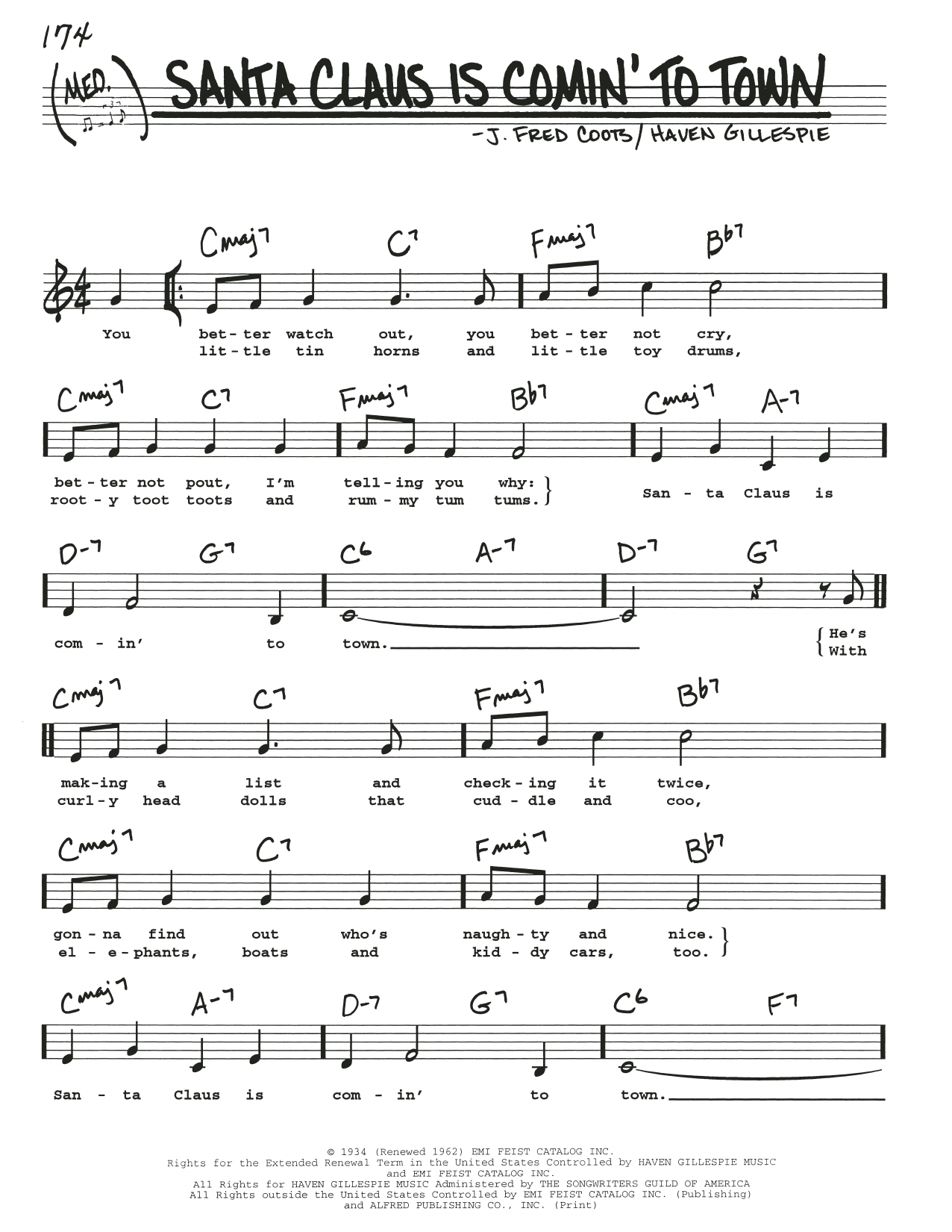 J Fred Coots Santa Claus Is Comin To Town Sheet Music Notes