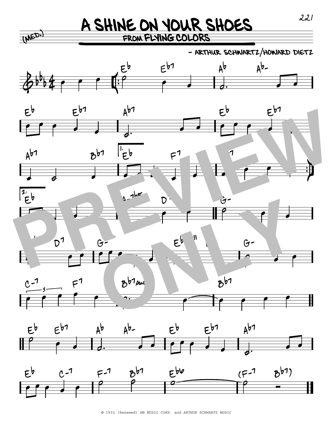 Arthur Schwartz A Shine On Your Shoes Sheet Music Notes Chords