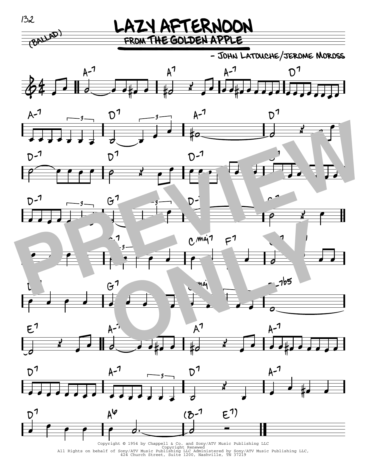 John Latouche Lazy Afternoon Sheet Music Notes Chords Printable
