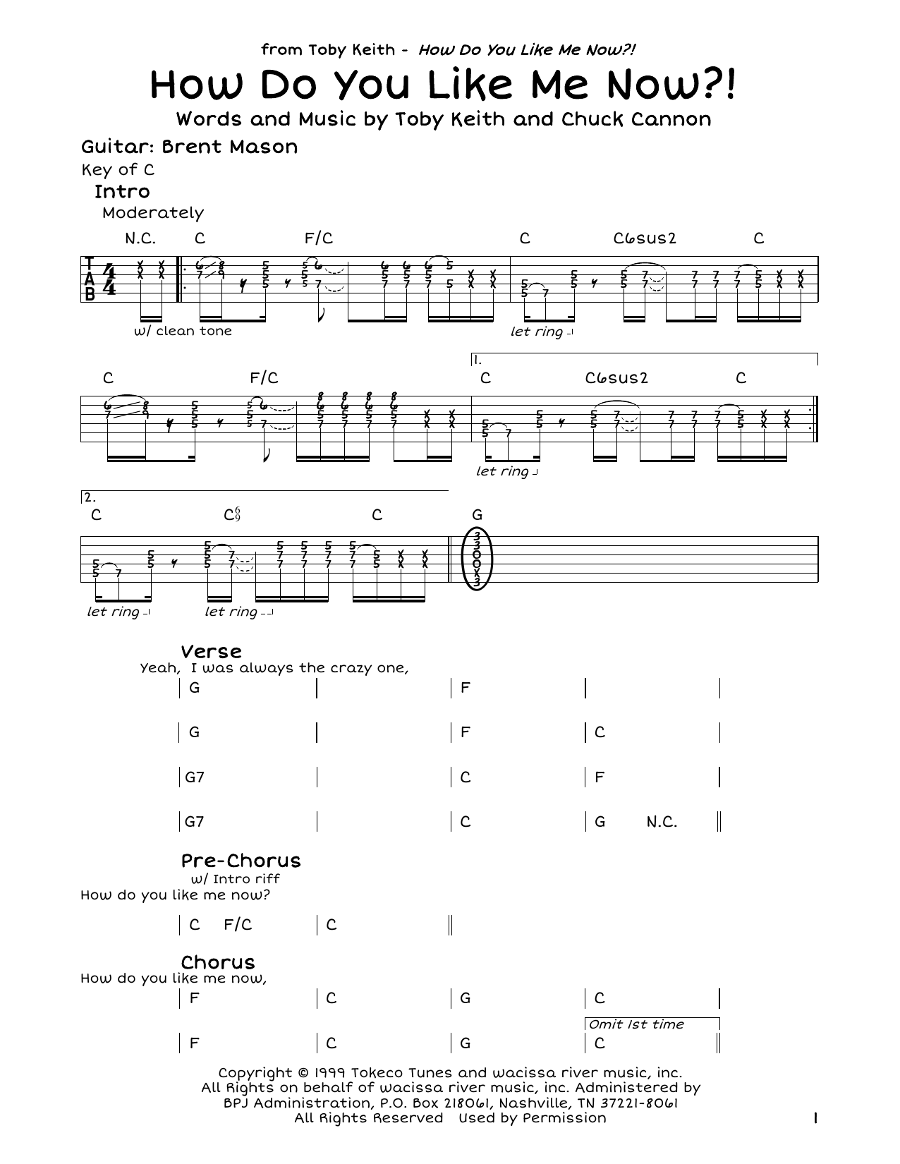 Toby Keith How Do You Like Me Now Sheet Music Notes Chords