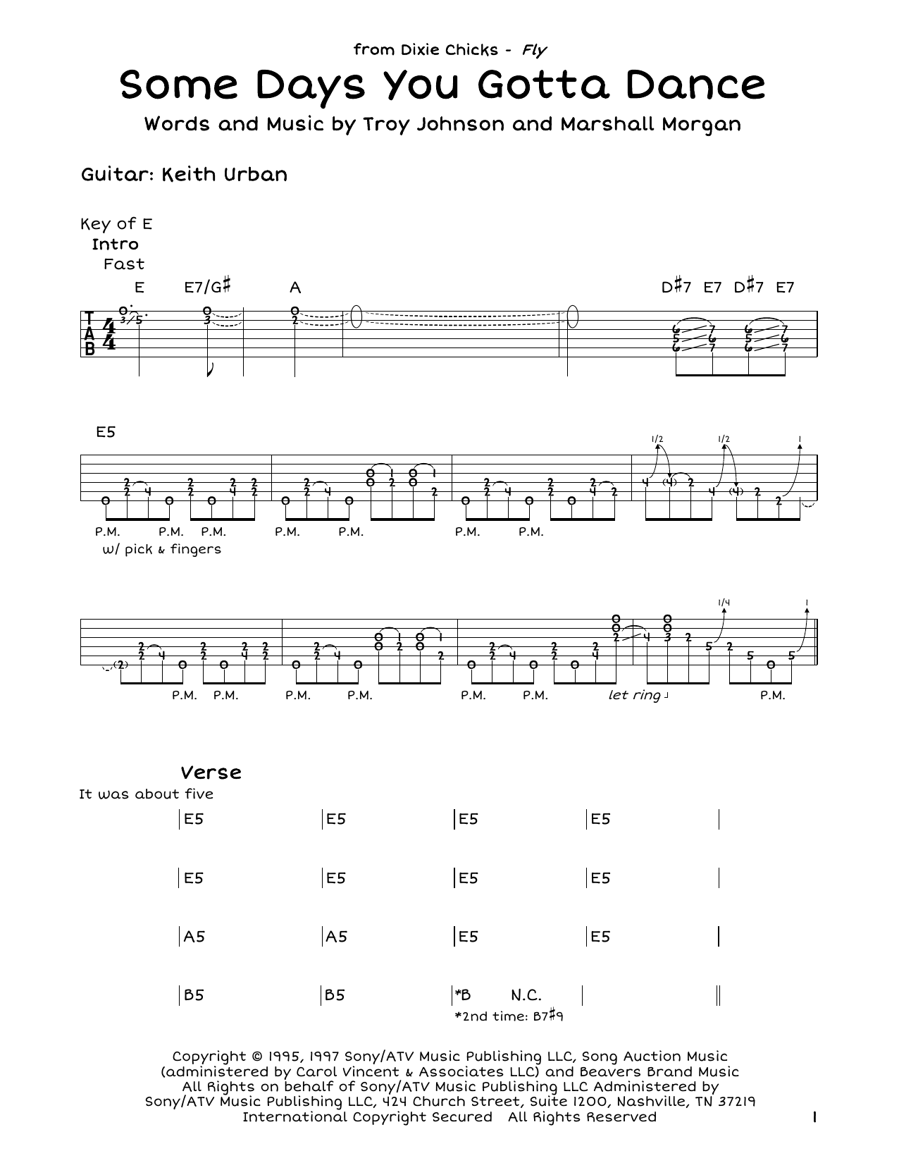 Dixie Chicks Some Days You Gotta Dance Sheet Music Notes Chords
