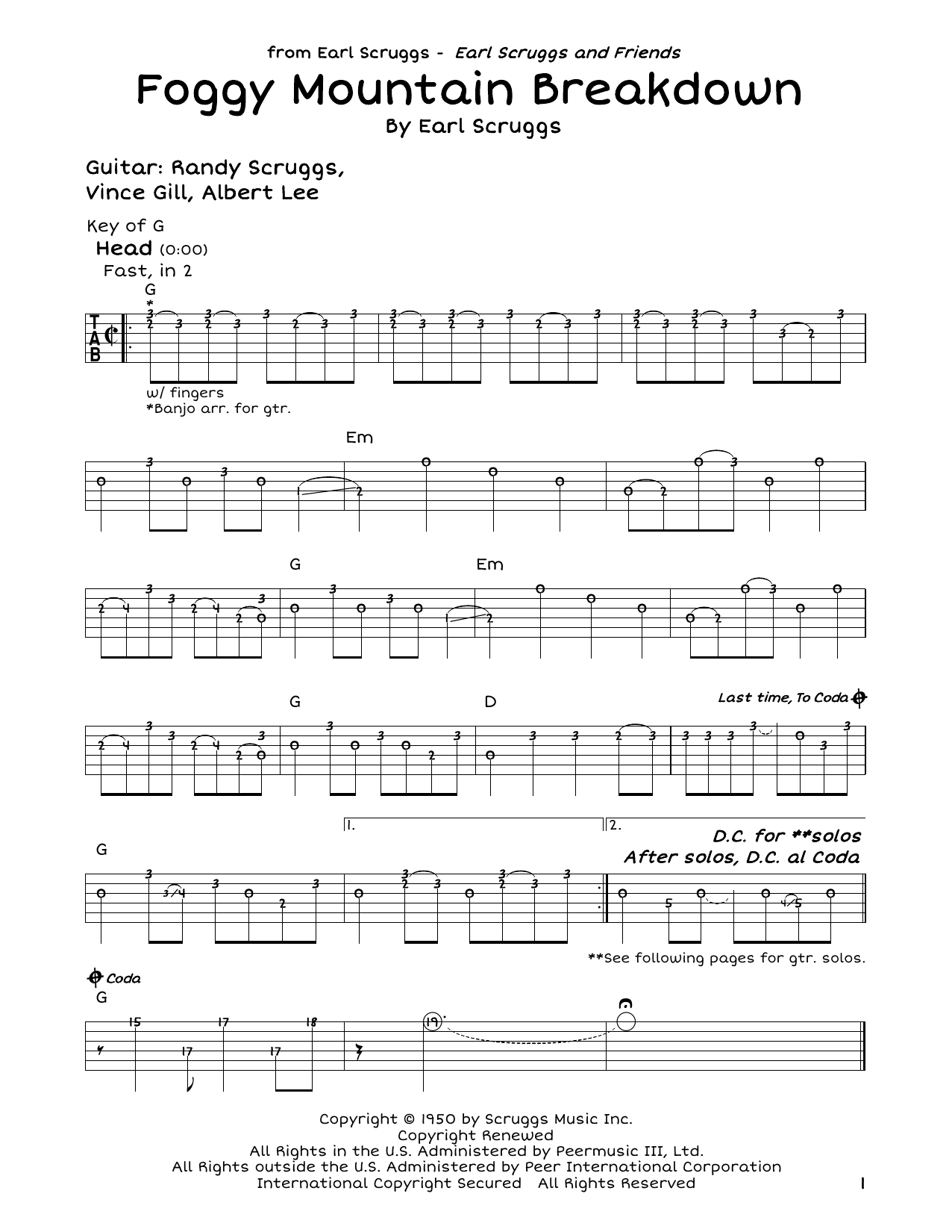 Lester Flatt Earl Scruggs Foggy Mountain Breakdown Sheet Music