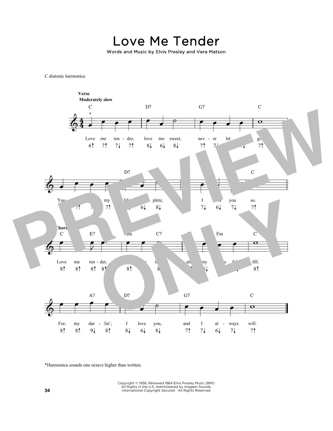 Elvis Presley Love Me Tender Sheet Music Notes Chords Printable