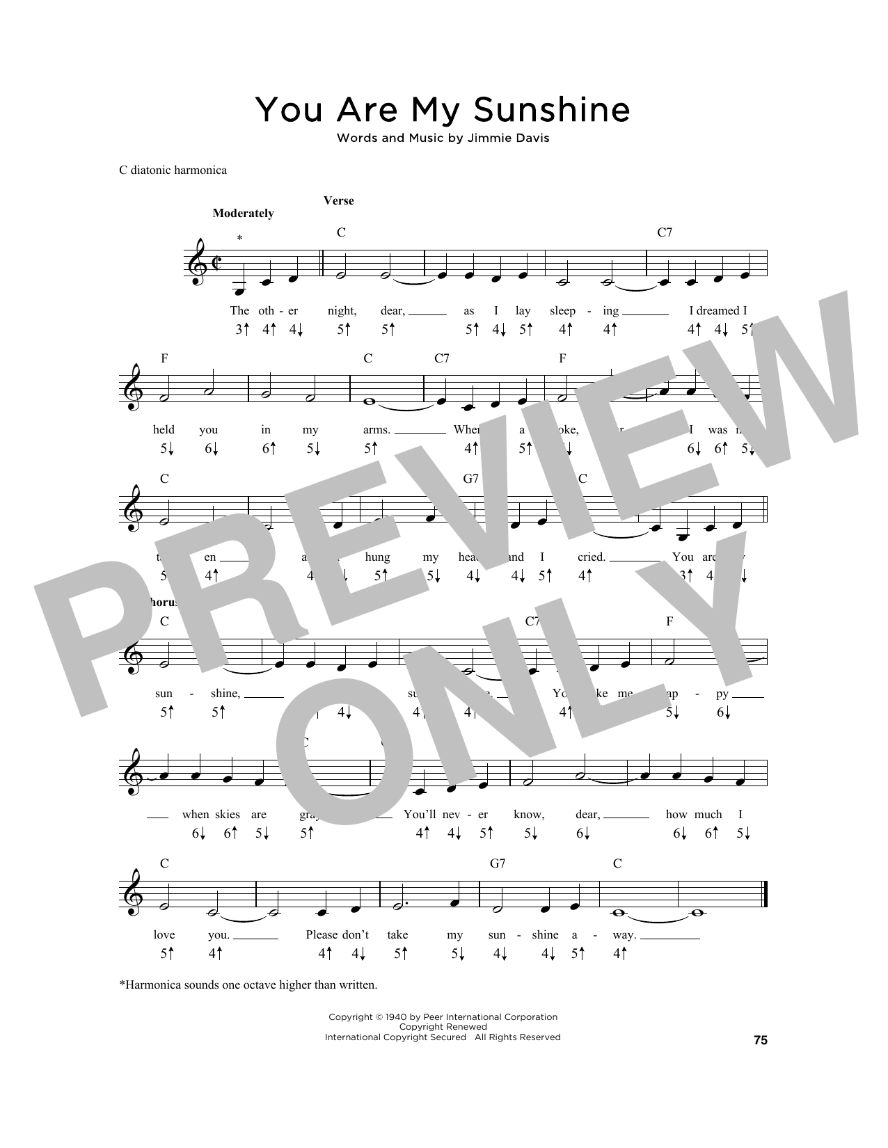 Jimmie Davis You Are My Sunshine Sheet Music Notes Chords
