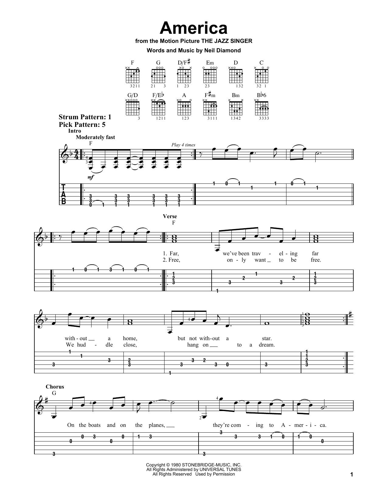 Neil Diamond America Sheet Music Notes Chords Printable Rock