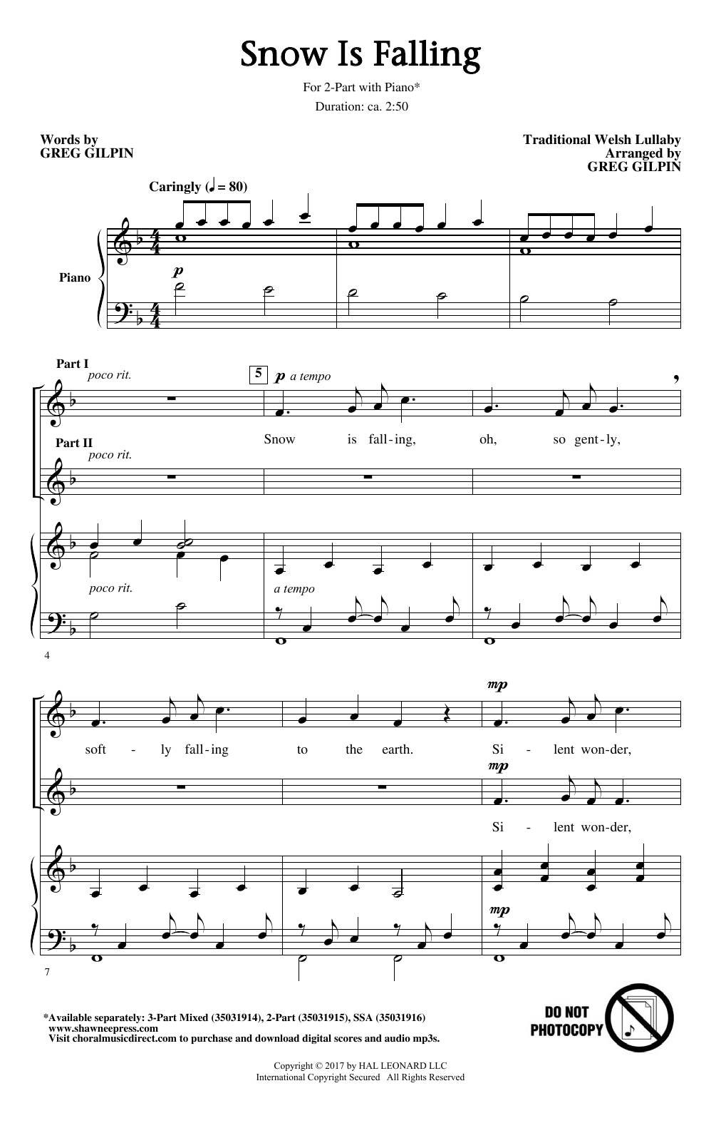 Greg Gilpin Snow Is Falling Sheet Music Notes Chords Printable