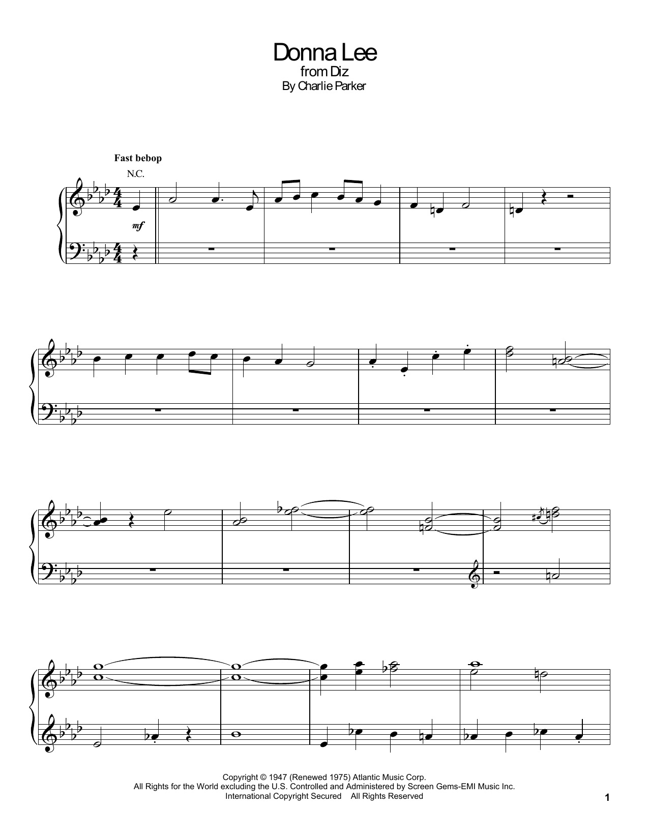 Gonzalo Rubalcaba Donna Lee Sheet Music Notes Chords Printable