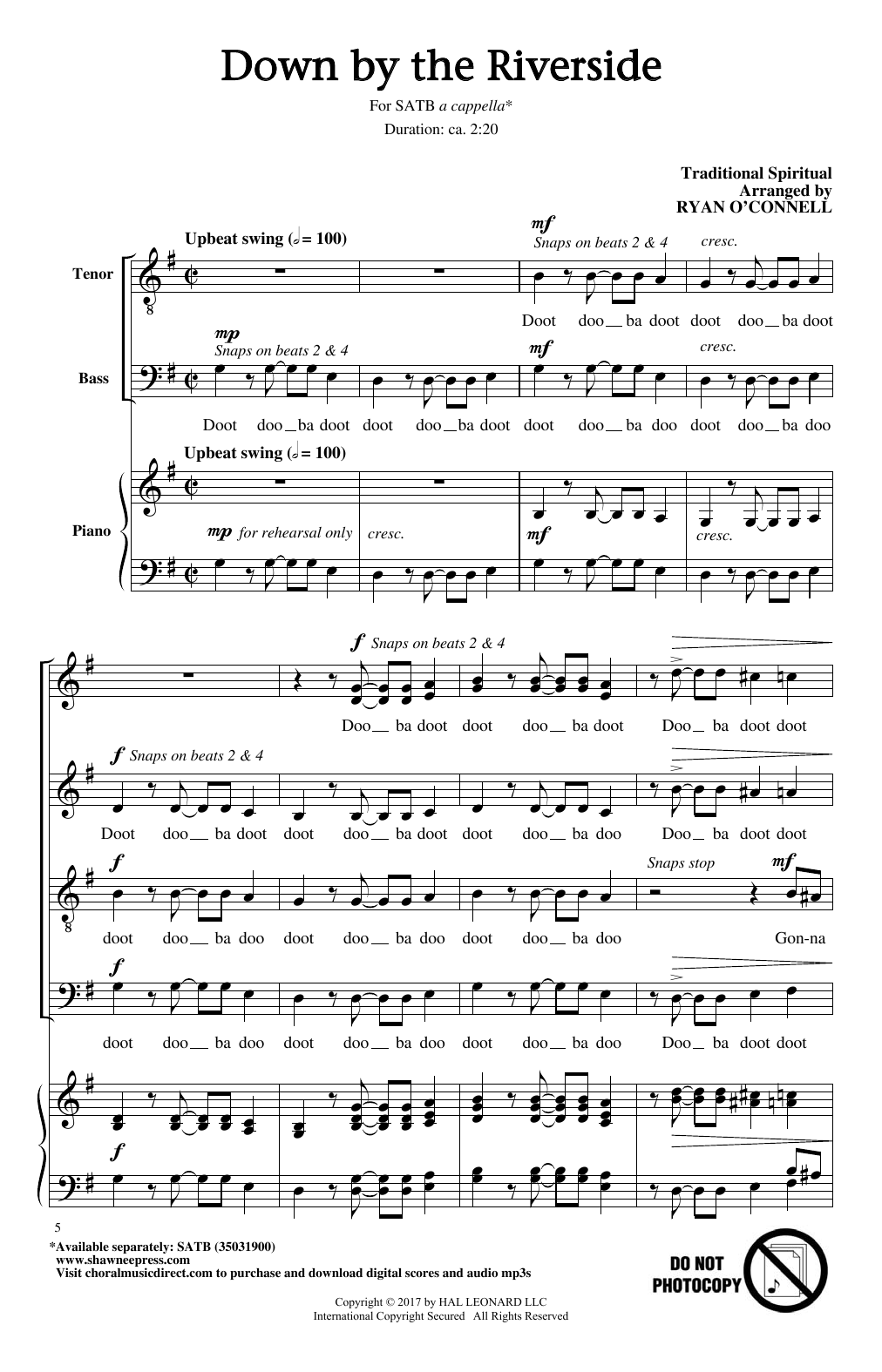 Ryan Oconnell Down By The Riverside Sheet Music Notes Chords