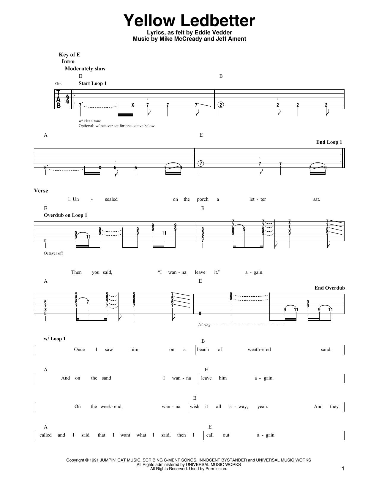 Pearl Jam Yellow Ledbetter Sheet Music Notes Chords Printable