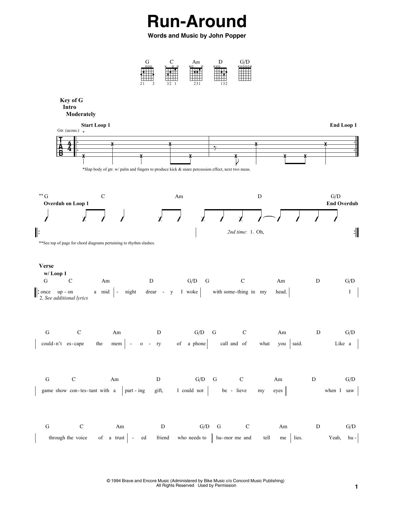 Blues Traveler Run Around Sheet Music Notes Chords Printable