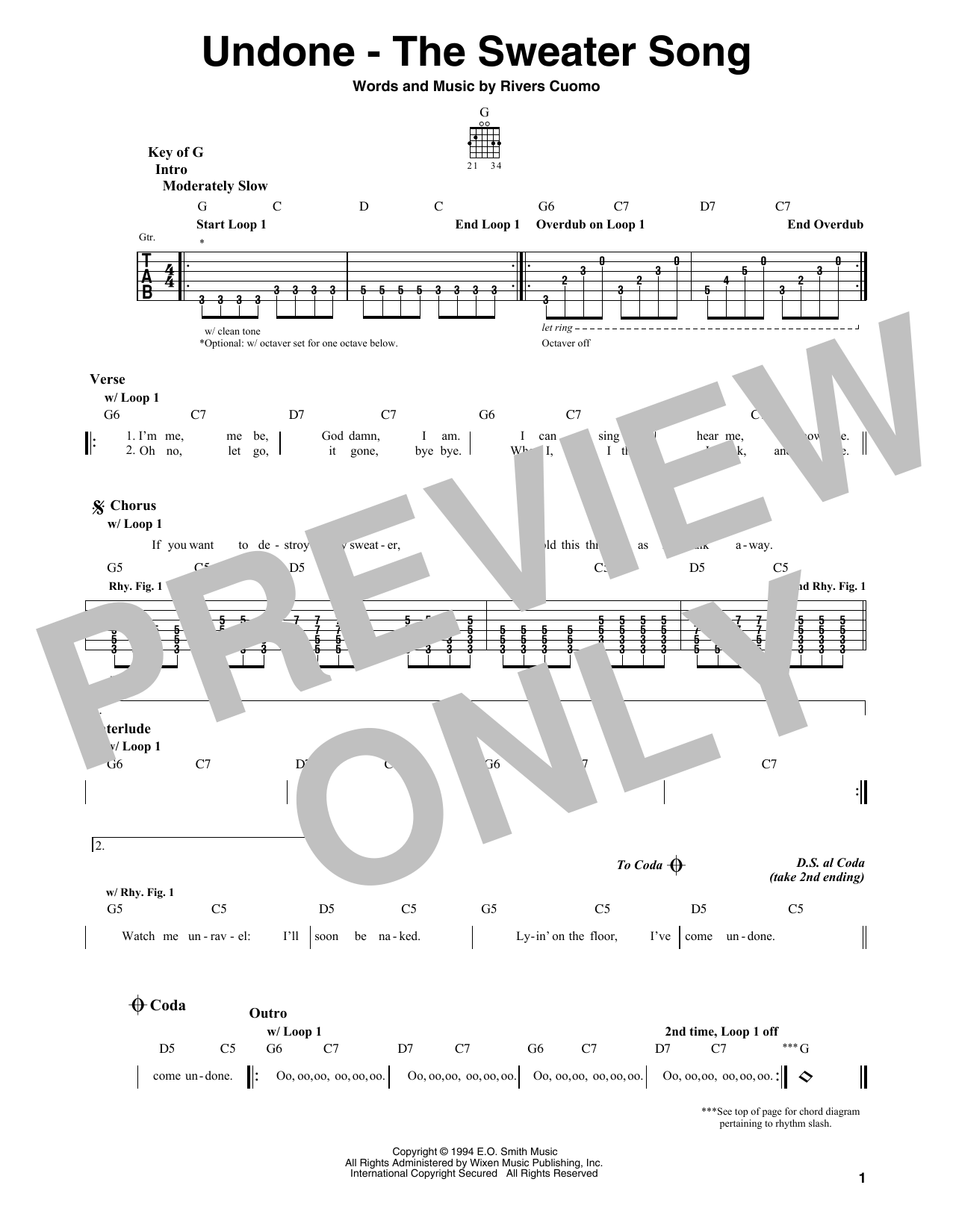 Weezer Undone The Sweater Song Sheet Music Notes Chords
