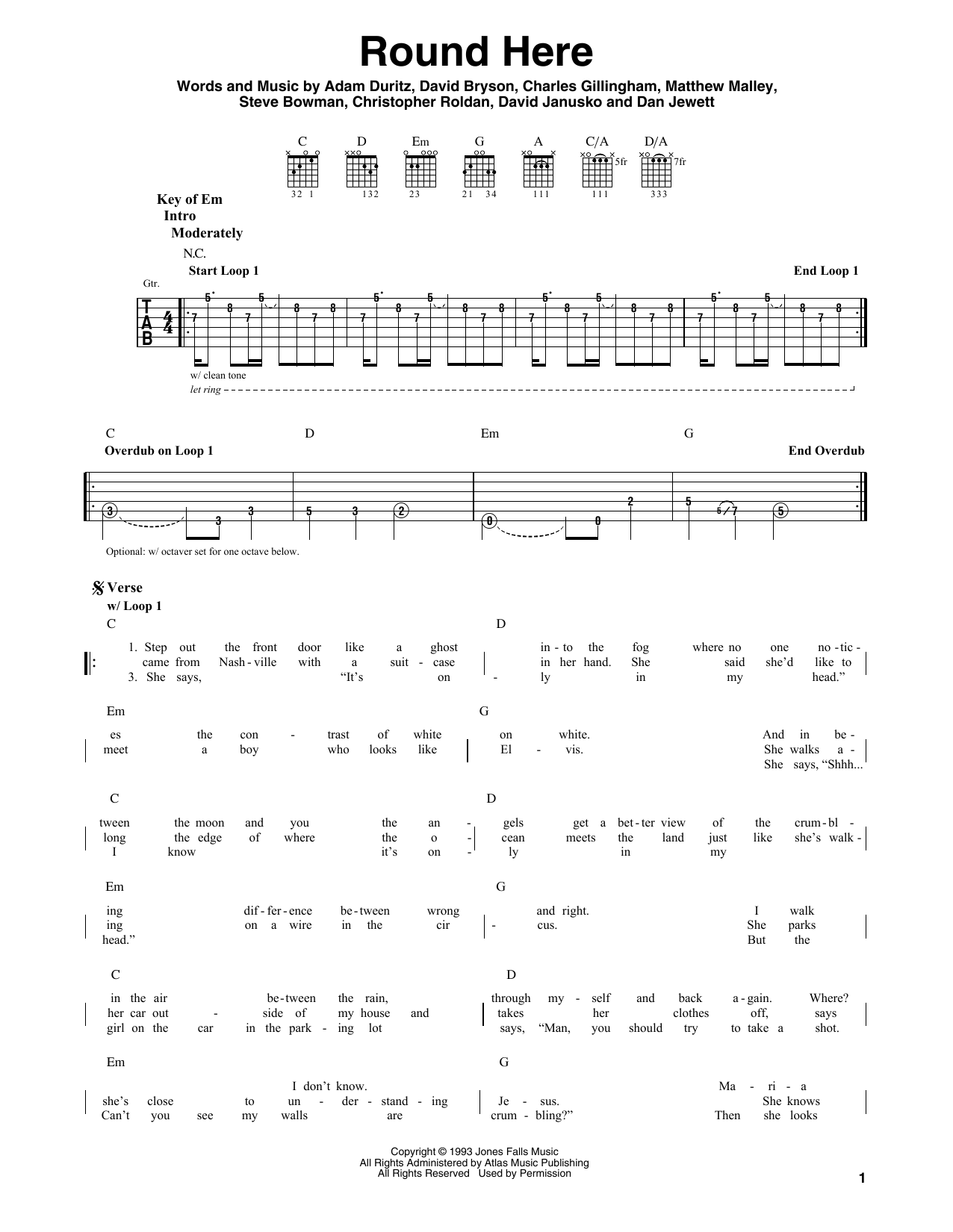 Counting Crows Round Here Sheet Music Notes Chords Printable
