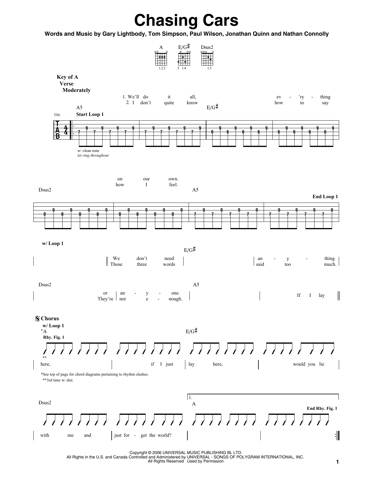 Snow Patrol Chasing Cars Sheet Music Notes Chords Printable