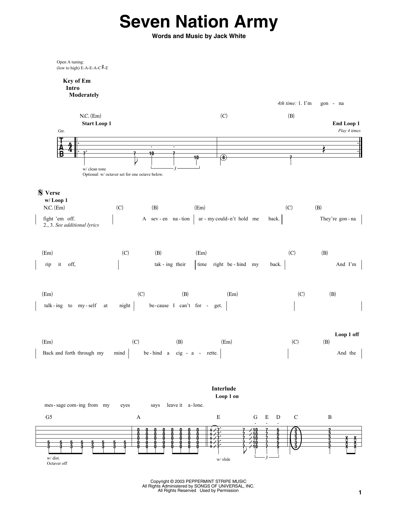 Seven Nation Army Chords Acoustic Guitar Choice Image Basic Guitar