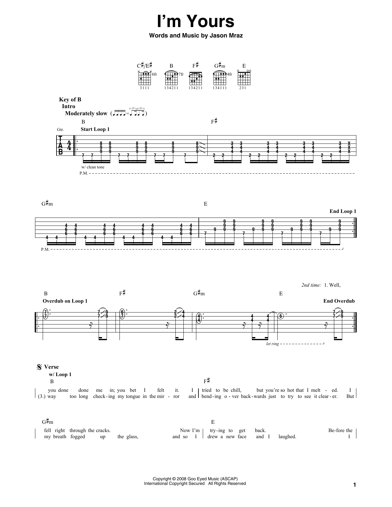 Jason Mraz Im Yours Sheet Music Notes Chords Printable Rock