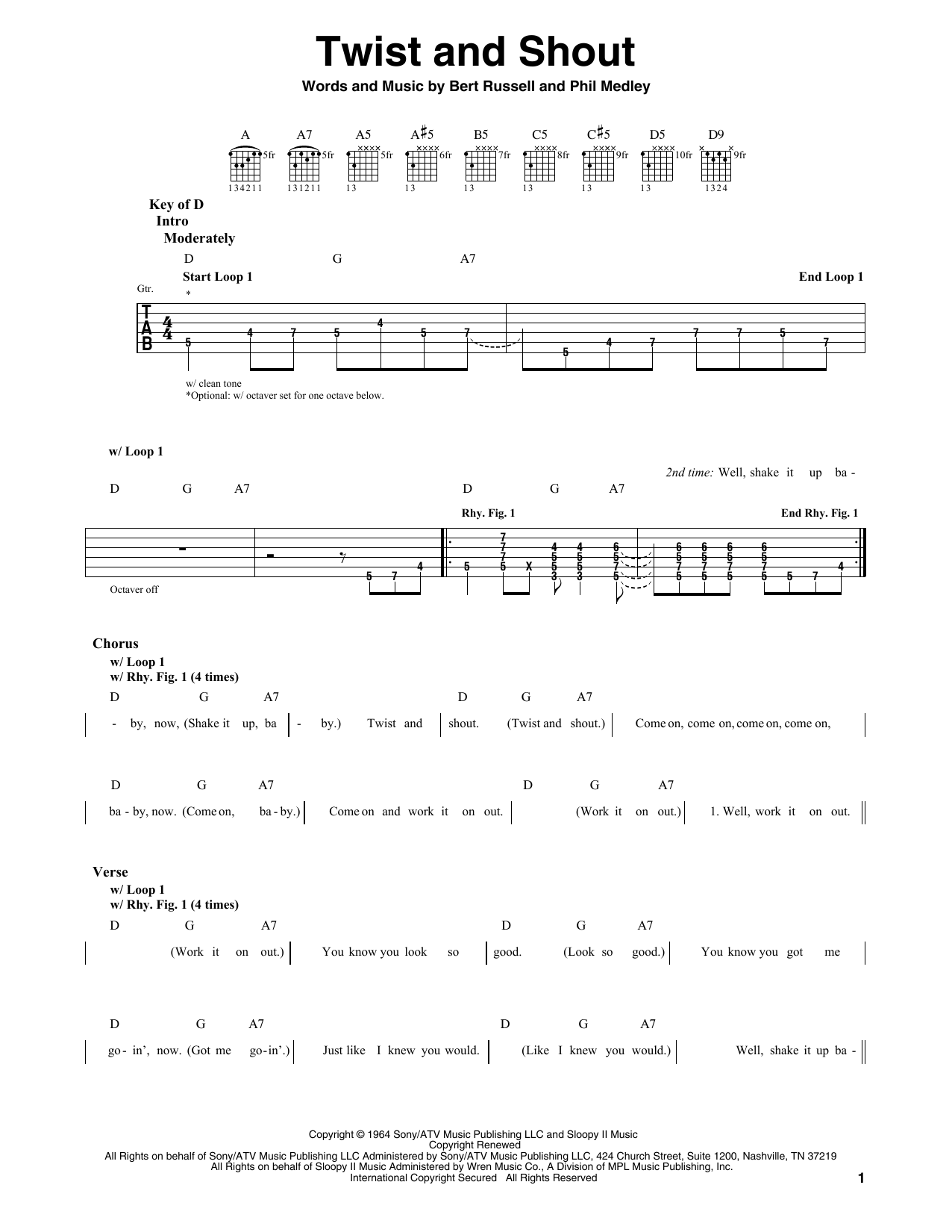 The Beatles Twist And Shout Sheet Music Notes Chords Printable