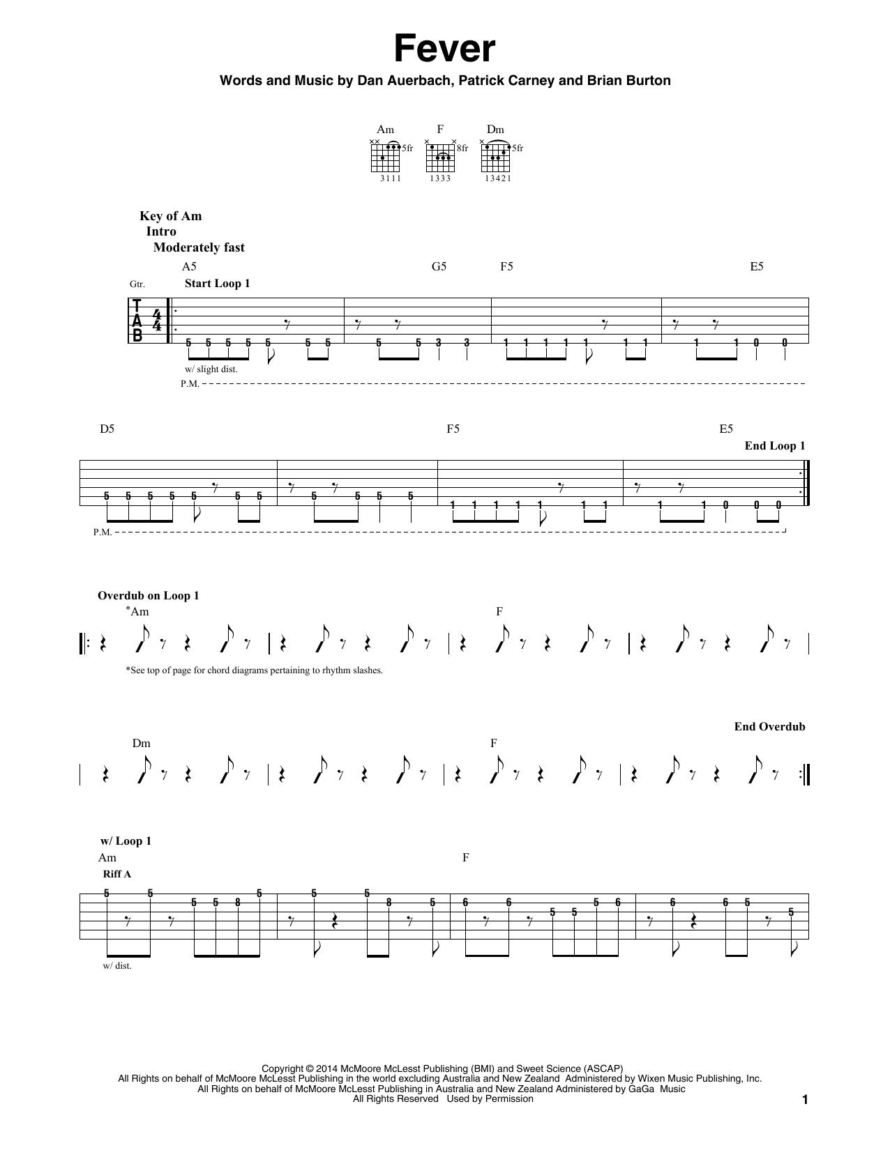 The Black Keys Fever Sheet Music Notes Chords Printable Rock