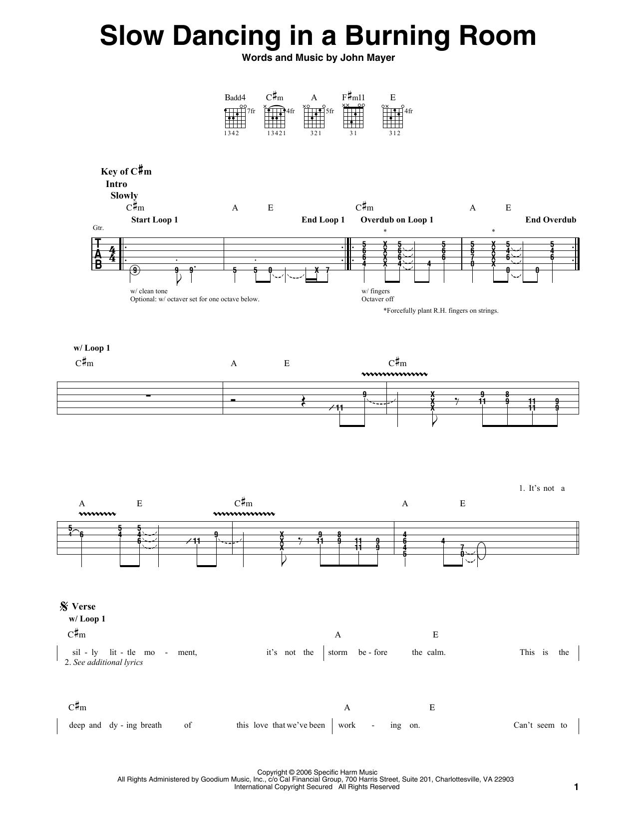 John Mayer Slow Dancing In A Burning Room Sheet Music Notes