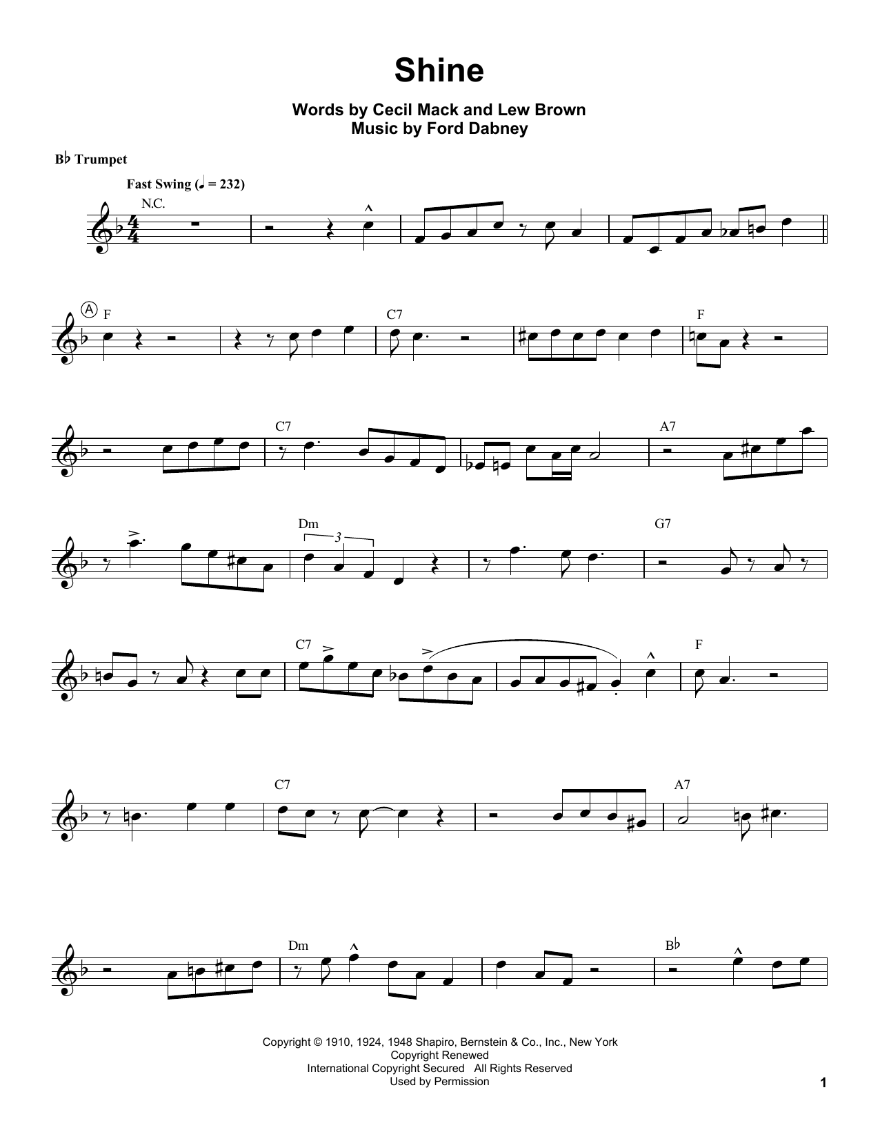 Louis Armstrong Shine Sheet Music Notes Chords Printable Folk