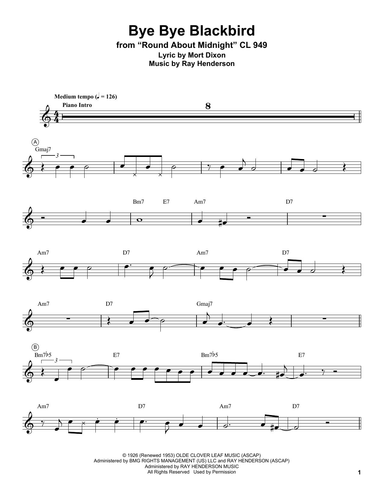 Miles Davis 'Bye Bye Blackbird' Sheet Music Notes, Chords   Download  Printable Trumpet Transcription - SKU: 199047
