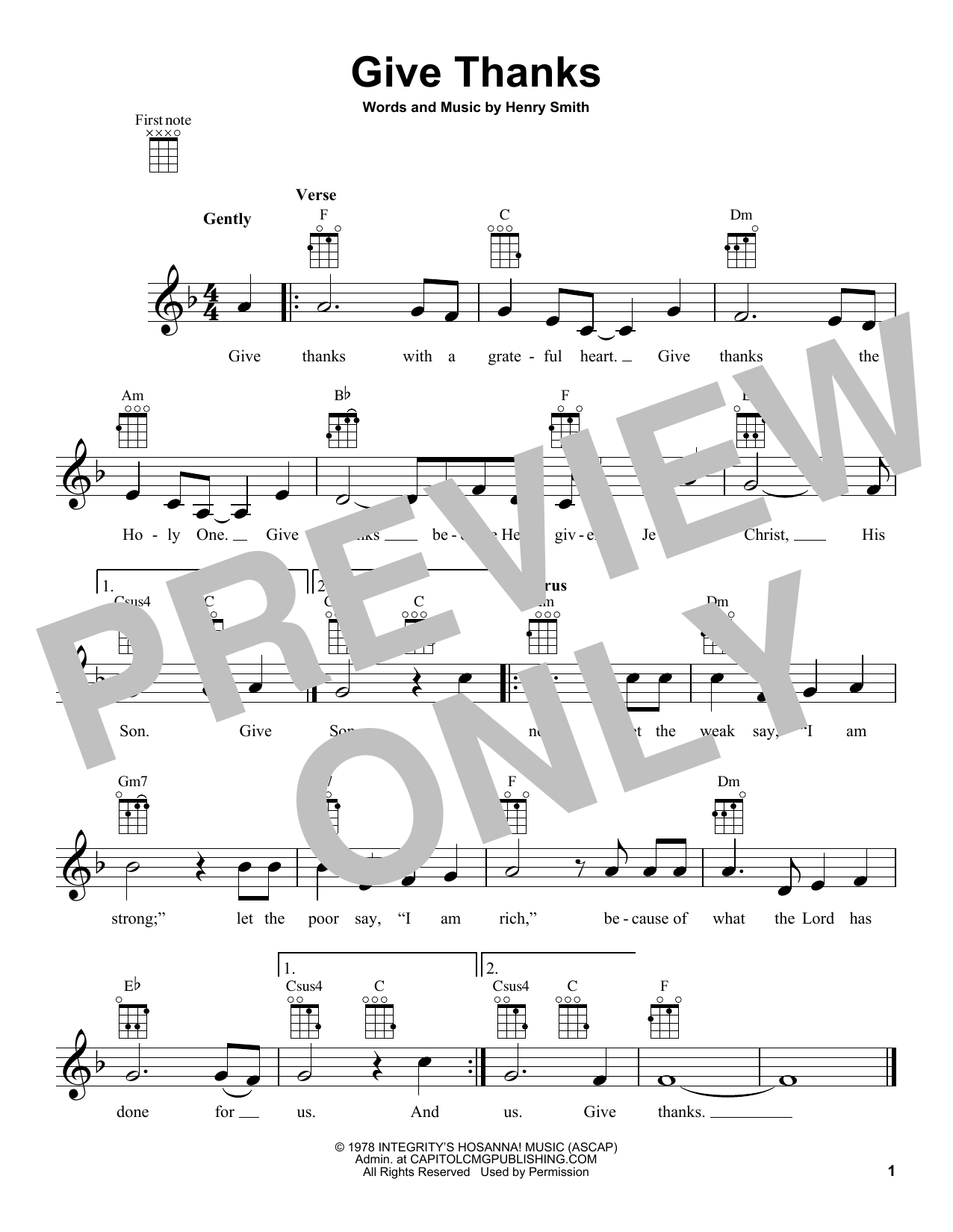 Henry Smith Give Thanks Sheet Music Notes Chords Printable