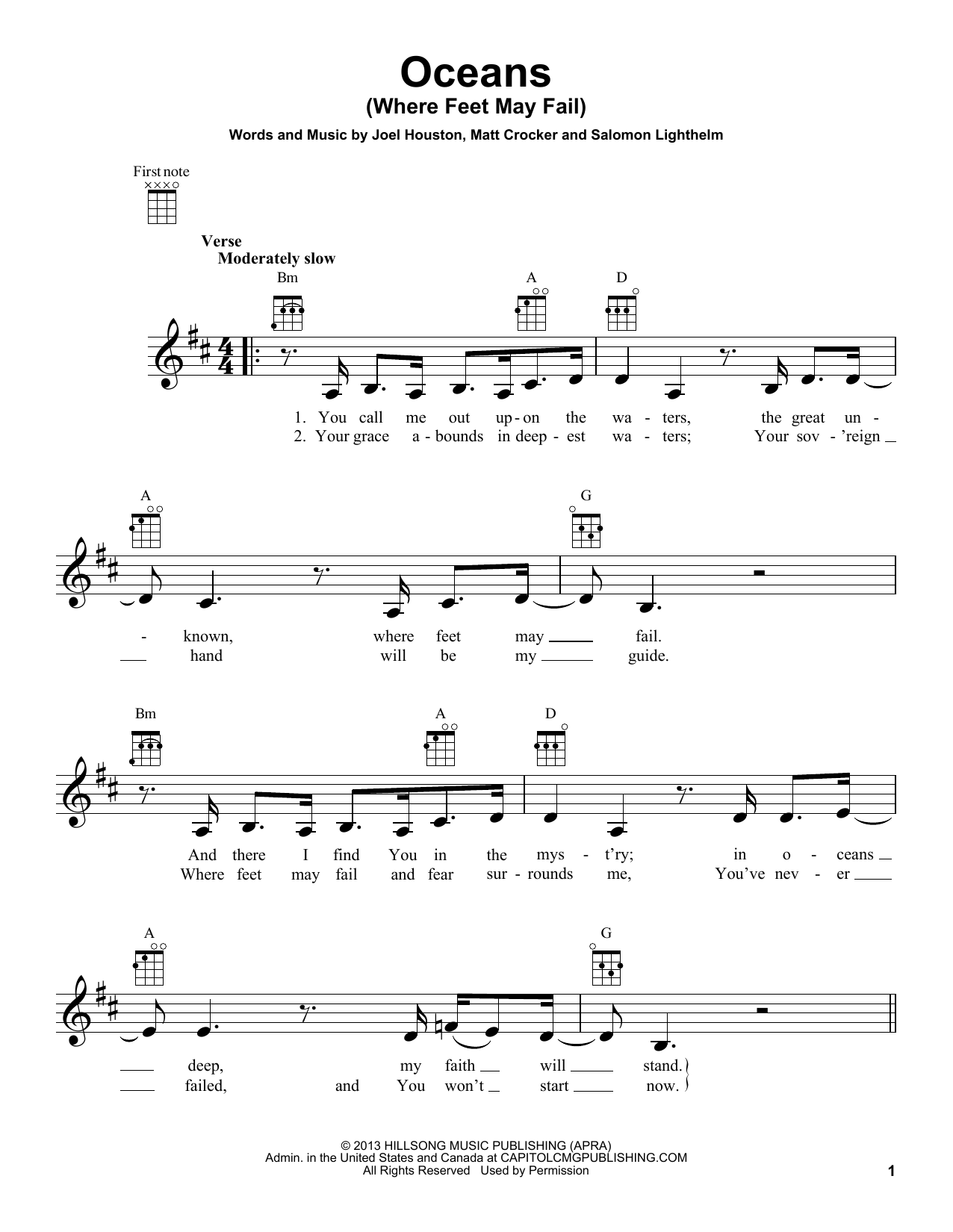 Hillsong United Oceans Where Feet May Fail Sheet Music Notes