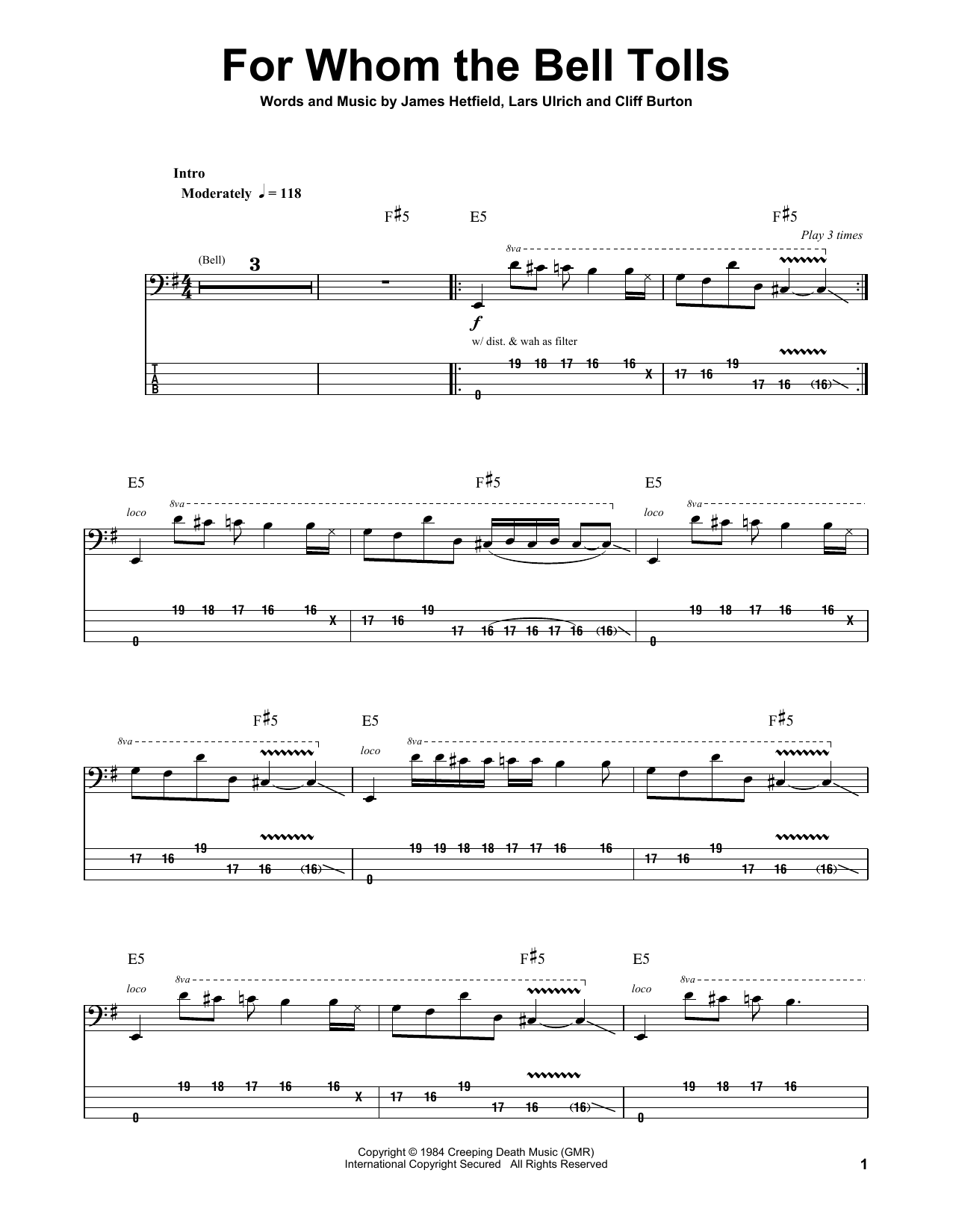 Metallica For Whom The Bell Tolls Sheet Music Notes Chords