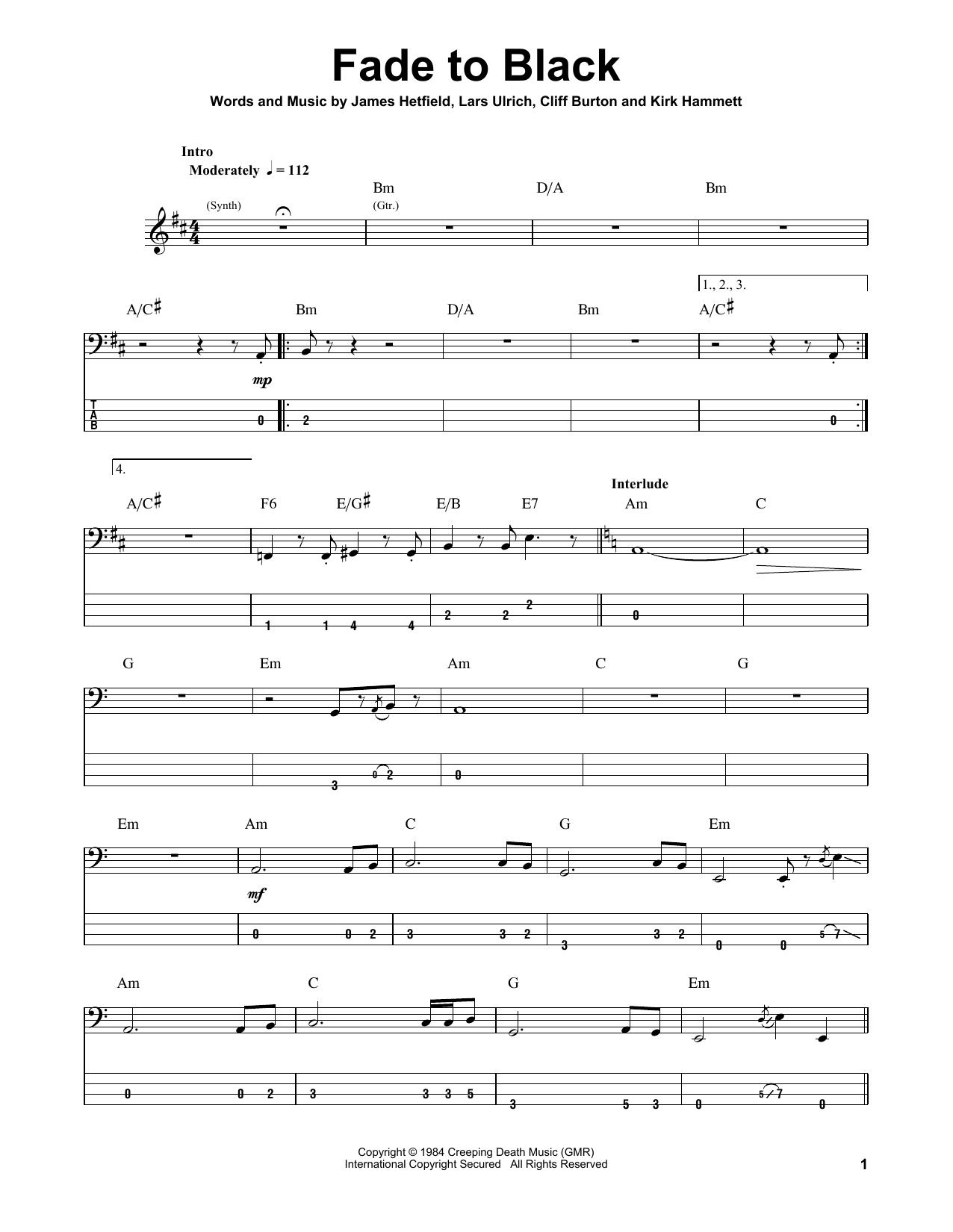 Metallica Fade To Black Sheet Music Notes Chords Printable Pop