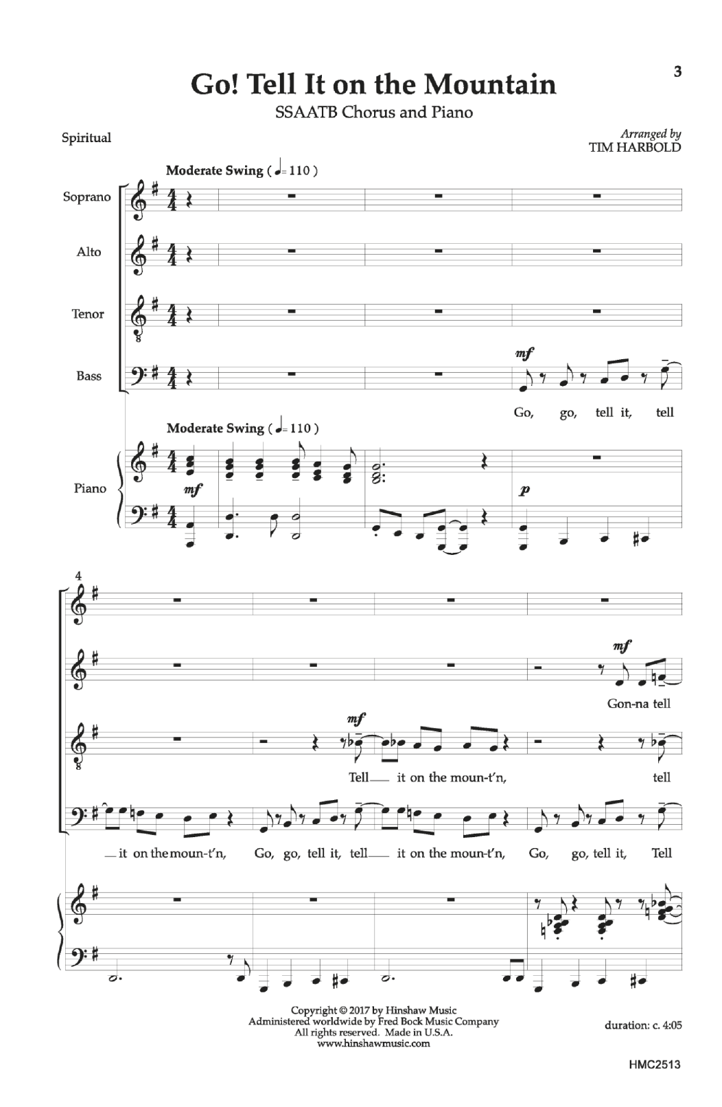 Tim Harbold Go Tell It On The Mountain Sheet Music Notes Chords