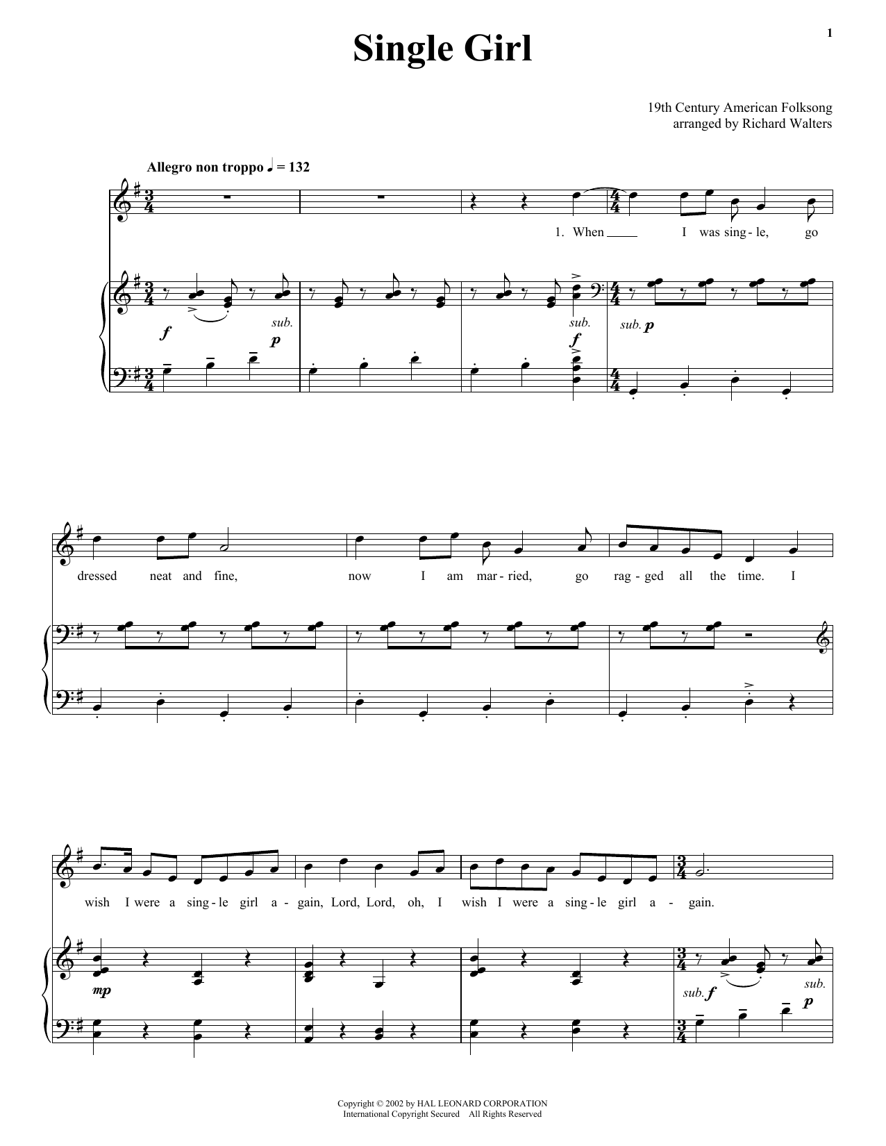 19th Century American Folksong Single Girl sheet music notes and chords